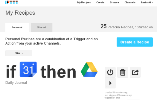 IFTTT   My Recipes